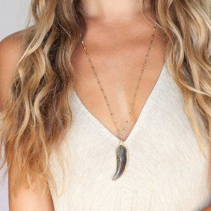 Heather Gardner Gold Wrapped Feather Necklace